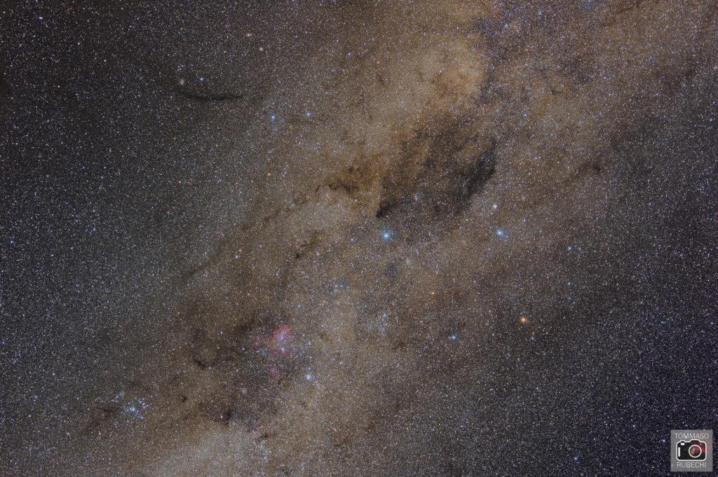 southern cross, coalsack nebula and running chicken nebula